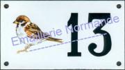 Numéro de maison décoré émaillé : Moineau