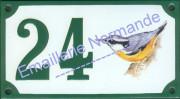 6- Numéro de maison décoré émaillé : Sitelle