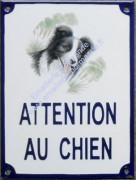 Plaque émaillée (20x15cm) attention au chien + 1 décor