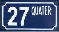 Plaque émaillée, numéro de rue + BIS (10x15 ou 10x18cm) voir notice