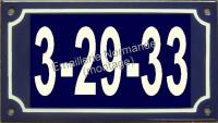 Numéro de rue émaillé, 3 à 7 signes (10x18cm) arial