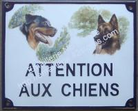 Plaque émaillée (15x20cm) attention aux chiens + 1 ou 2 décors