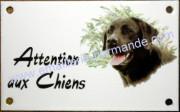 Plaque émaillée 10x15cm : Attention aux chiens + 1 décor parmi la liste