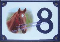 Numéro de rue décoré émaillé : Cheval