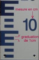 échelle d'étiage, mesure de niveau d'eau mixte, graduations bleues POSITIVES et rouges NEGATIVES (12,5 x 50cm)
