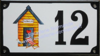 Numéro de rue décoré émaillé : Cabine de plage 1
