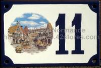 Numéro de rue décoré émaillé : Alsace