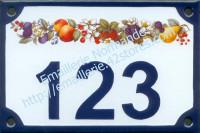Numéro de rue décoré émaillé : guirlande fruits