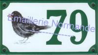 Numéro de maison décoré émaillé : Merle