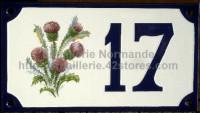 Numéro de rue décoré émaillé : Chardons
