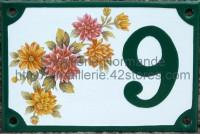 Numéro de rue décoré émaillé : Fleur37269 D