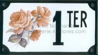 Numéro de rue décoré émaillé : Rose pénélope
