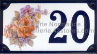 Numéro de rue décoré émaillé : Rose festival