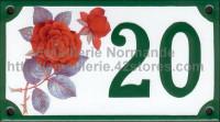 6- Numéro de rue décoré émaillé : Rose rouge