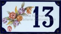 Numéro de rue décoré émaillé : Tulipes