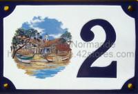 Numéro de rue décoré émaillé : Port varois