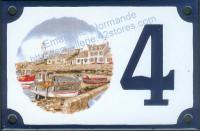 Numéro de rue décoré émaillé : Piriac