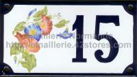 Numéro de rue décoré émaillé : Liserons