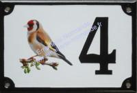 Numéro de maison décoré émaillé : photo chardonneret (gauche)