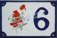 Numéro de rue décoré : Bouquet coquelicots 3099