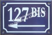 Plaque émaillée, 1 numéro de rue 10x15cm (ou 10x18cm) avec flèche