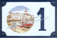 Numéro de rue décoré émaillé : Bord de mer
