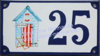Numéro de rue décoré émaillé : Cabane de plage 3