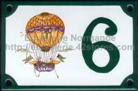 Numéro de rue décoré émaillé : Moustiers montgolfiere