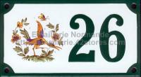Numéro de rue décoré émaillé : Moustiers oiseau
