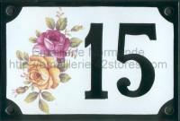 Numéro de rue décoré émaillé : Rose bicolore