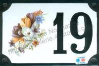 Numéro de rue décoré émaillé : Crocus