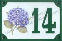 Numéro de rue décoré émaillé : Hortensia bleu