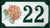 Numéro de rue décoré émaillé : Hortensia rose