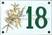 Numéro de rue décoré émaillé : Mimosas