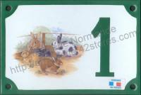 Numéro de rue décoré émaillé : Lapin