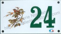 Numéro de rue décoré émaillé : Pinson
