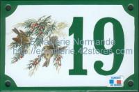 Numéro de rue décoré émaillé : Roitelet huppé