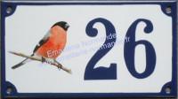 Numéro de maison décoré émaillé : photo bouvreuil