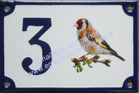 Numéro de maison décoré émaillé : photo chardonneret (droite)