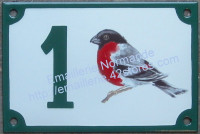 Numéro de maison décoré émaillé : Bouvreuil