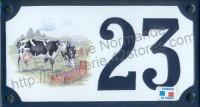 Numéro de rue décoré émaillé : Vaches