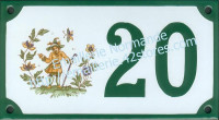 Numéro de rue décoré émaillé : Moustiers oiseleur