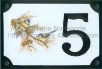 Numéro de rue décoré émaillé : Mésange bleue
