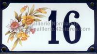 Numéro de rue décoré émaillé : Jonquilles