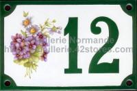 Numéro de rue décoré émaillé : Violettes