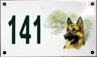 Numéro de rue décoré 10x18cm (modèle avec chien)