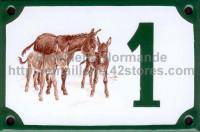 Numéro de rue décoré émaillé : Ânes