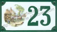 Numéro de rue décoré émaillé : Maréchal ferrant