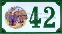 Numéro de rue décoré émaillé : Normands