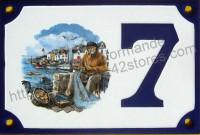 Numéro de rue décoré émaillé : Paimpol